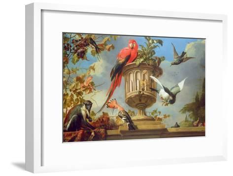Scarlet Macaw Perched on an Urn, with Other Birds and a Monkey Eating Grapes-Melchior de Hondecoeter-Framed Art Print