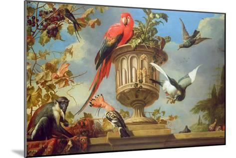 Scarlet Macaw Perched on an Urn, with Other Birds and a Monkey Eating Grapes-Melchior de Hondecoeter-Mounted Giclee Print