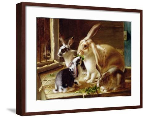 Long-Eared Rabbits in a Cage, Watched by a Cat-Horatio Henry Couldery-Framed Art Print