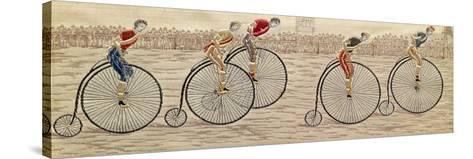The Last Lap, Penny Farthing Race Woven Silk Stevengraph, by Thomas Stevens of Coventry, 1872--Stretched Canvas Print