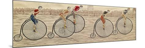 The Last Lap, Penny Farthing Race Woven Silk Stevengraph, by Thomas Stevens of Coventry, 1872--Mounted Giclee Print