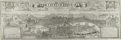 """""""The Citty of Bristoll"""", Perspective View by James Millerd, Pub.1673--Stretched Canvas Print"""