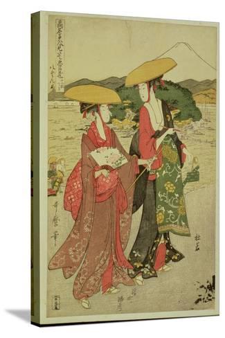 P.355-1945 Scene 8, Comparison of Celebrated Beauties and the Loyal League, C.1797-Kitagawa Utamaro-Stretched Canvas Print