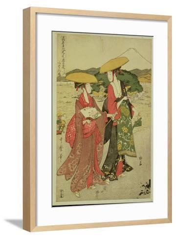 P.355-1945 Scene 8, Comparison of Celebrated Beauties and the Loyal League, C.1797-Kitagawa Utamaro-Framed Art Print