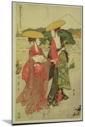 P.355-1945 Scene 8, Comparison of Celebrated Beauties and the Loyal League, C.1797-Kitagawa Utamaro-Mounted Giclee Print