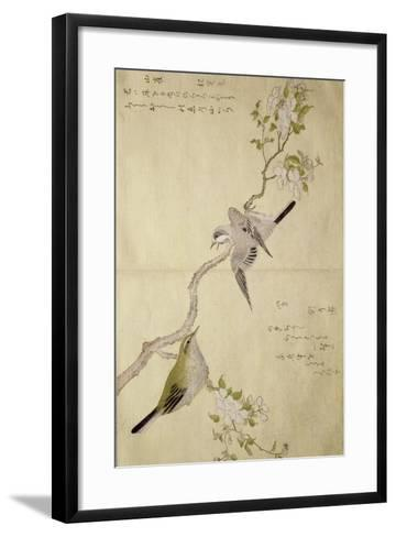 P.332-1946 Vol.1 F.2 Tit on a Bough on the Right and a Bush-Warbler on a Branch on the Left, from?-Kitagawa Utamaro-Framed Art Print