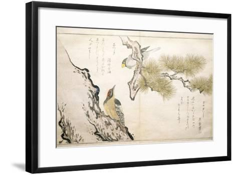 P.332-1946 Vol.1 F.3 Hawfinch and a Woodpecker, from an Album 'Birds Compared in Humorous Songs',…-Kitagawa Utamaro-Framed Art Print