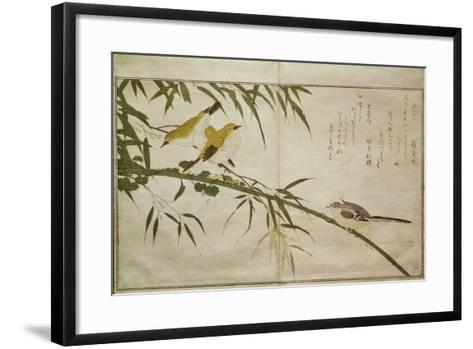 P.332-1946 Vol.2 F.6 Long-Tailed Tit and Three White Eyes, from an Album 'Birds Compared in?-Kitagawa Utamaro-Framed Art Print