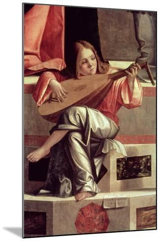 Minstrel Angel Playing a Lute, Detail from the Presentation of Jesus in the Temple, 1510 (Detail)-Vittore Carpaccio-Mounted Giclee Print