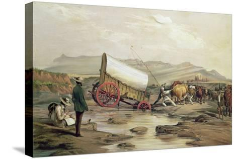 T662 Klaass Smit's River, with a Broken Down Wagon, Crossing the Drift, South Africa, 1852-Thomas Baines-Stretched Canvas Print