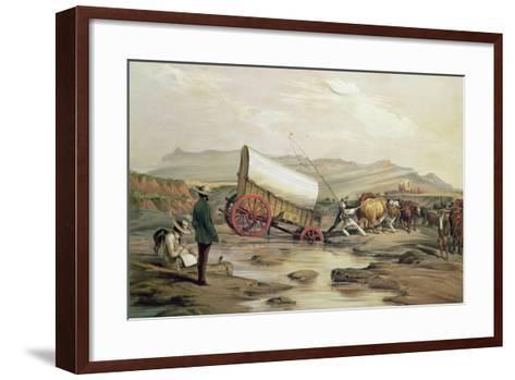 T662 Klaass Smit's River, with a Broken Down Wagon, Crossing the Drift, South Africa, 1852-Thomas Baines-Framed Art Print