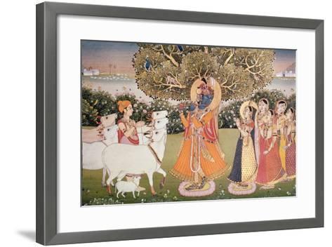 Eighth Incarnation of Vishnu as Krishna: Playing to the Gopis--Framed Art Print