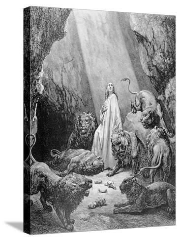 Daniel in the Den of Lions, Engraved by Antoine Alphee Piaud, C.1868-Gustave Dor?-Stretched Canvas Print