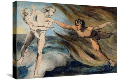 Good and Evil Angels Struggling for the Possession of a Child, C.1793-94-William Blake-Stretched Canvas Print