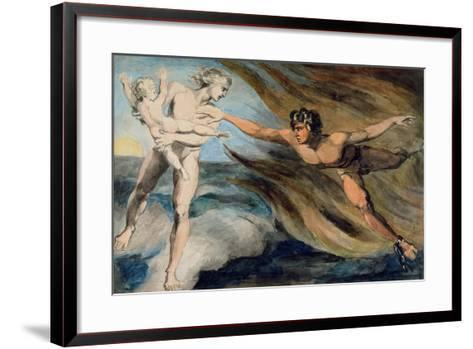 Good and Evil Angels Struggling for the Possession of a Child, C.1793-94-William Blake-Framed Art Print