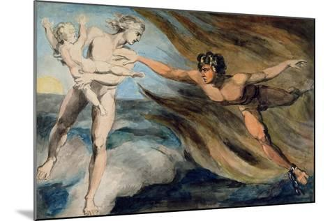 Good and Evil Angels Struggling for the Possession of a Child, C.1793-94-William Blake-Mounted Giclee Print