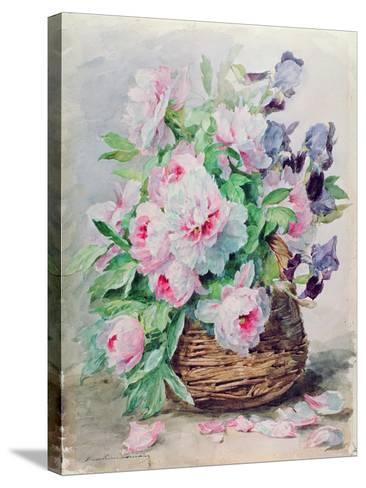 Irises and Peonies in a Basket-Madeleine Lemaire-Stretched Canvas Print