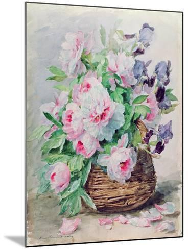 Irises and Peonies in a Basket-Madeleine Lemaire-Mounted Giclee Print