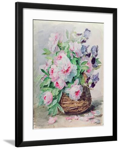 Irises and Peonies in a Basket-Madeleine Lemaire-Framed Art Print