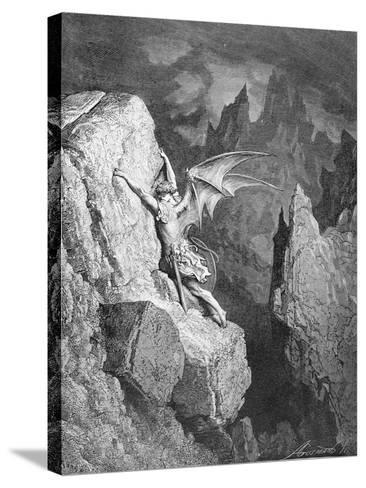 Satan's Flight Through Chaos, from 'Paradise Lost' by John Milton (1608-74) Engraved by Adolphe?-Gustave Dor?-Stretched Canvas Print