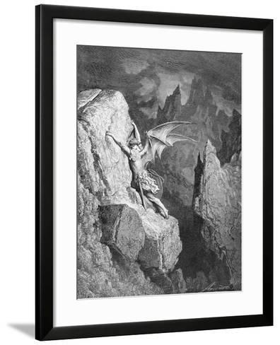 Satan's Flight Through Chaos, from 'Paradise Lost' by John Milton (1608-74) Engraved by Adolphe?-Gustave Dor?-Framed Art Print