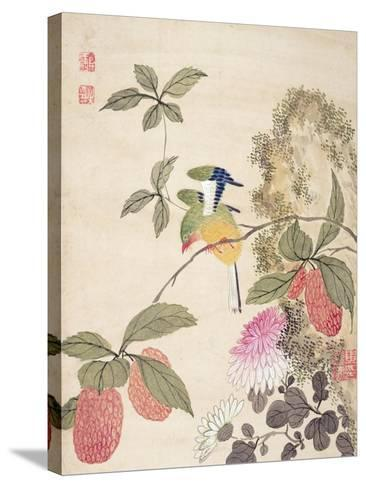 One of a Series of Paintings of Birds and Fruit, Late 19th Century- Wang Guochen-Stretched Canvas Print