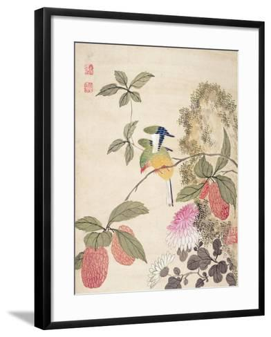 One of a Series of Paintings of Birds and Fruit, Late 19th Century- Wang Guochen-Framed Art Print