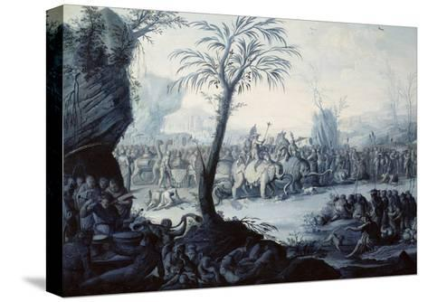 Chinoiserie Landscape with Figures and Animals-Jean Baptiste Pillement-Stretched Canvas Print
