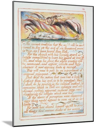 """""""The Ancient Tradition.., Illustration and Text from 'The Marriage of Heaven and Hell"""", C.1790-3-William Blake-Mounted Giclee Print"""