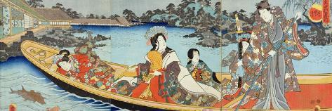 Triptych Depicting a Prince, Princess and Court Ladies Boating on a Garden Pond under a Full Moon?-Utagawa Kunisada-Stretched Canvas Print
