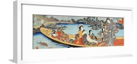 Triptych Depicting a Prince, Princess and Court Ladies Boating on a Garden Pond under a Full Moon?-Utagawa Kunisada-Framed Art Print
