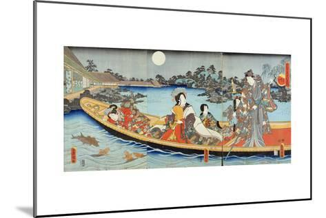 Triptych Depicting a Prince, Princess and Court Ladies Boating on a Garden Pond under a Full Moon?-Utagawa Kunisada-Mounted Giclee Print