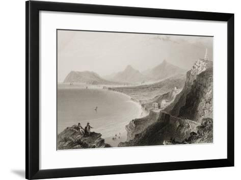 Killiney Bay, County Dublin, Ireland, from 'scenery and Antiquities of Ireland' by George Virtue,…-William Henry Bartlett-Framed Art Print
