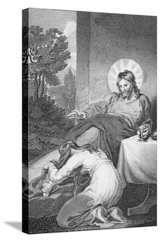 Mary Anointing the Saviour's Feet, from 'The History and Life of Our Blessed Lord and Saviour?-William Hopwood-Stretched Canvas Print