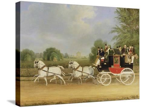 The London-Farringdon Coach Passing Buckland House, Berkshire-James Pollard-Stretched Canvas Print
