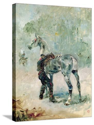 Artilleryman Saddling His Horse, 1879-Henri de Toulouse-Lautrec-Stretched Canvas Print
