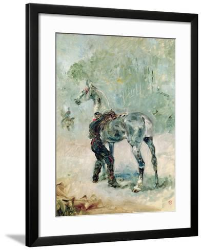 Artilleryman Saddling His Horse, 1879-Henri de Toulouse-Lautrec-Framed Art Print