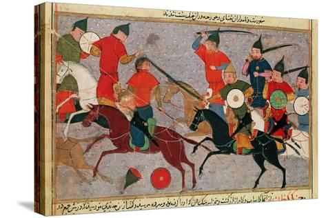 Ms Pers.113 F.49 Genghis Khan (C.1162-1227) in Battle, from a Book by Rashid-Al-Din (1247-1318)--Stretched Canvas Print