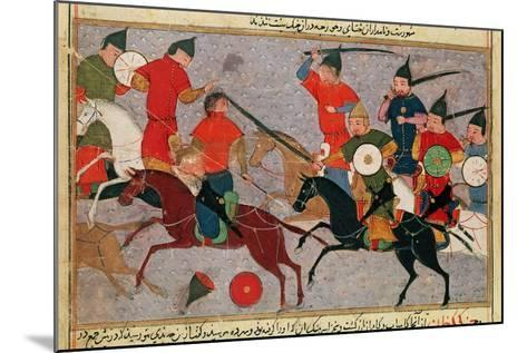 Ms Pers.113 F.49 Genghis Khan (C.1162-1227) in Battle, from a Book by Rashid-Al-Din (1247-1318)--Mounted Giclee Print