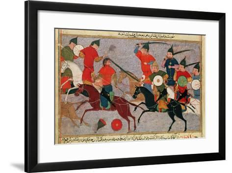 Ms Pers.113 F.49 Genghis Khan (C.1162-1227) in Battle, from a Book by Rashid-Al-Din (1247-1318)--Framed Art Print