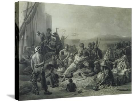 Scene on the Coast of Africa, Engraved by Wagstaff, London, 1844-Francois Auguste Biard-Stretched Canvas Print