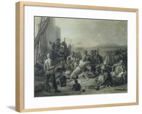 Scene on the Coast of Africa, Engraved by Wagstaff, London, 1844-Francois Auguste Biard-Framed Art Print