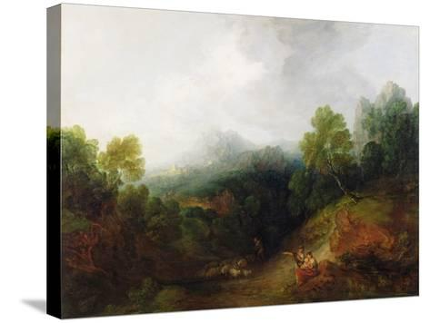 A Mountain Valley with Rustic Figures, C.1773-7-Thomas Gainsborough-Stretched Canvas Print