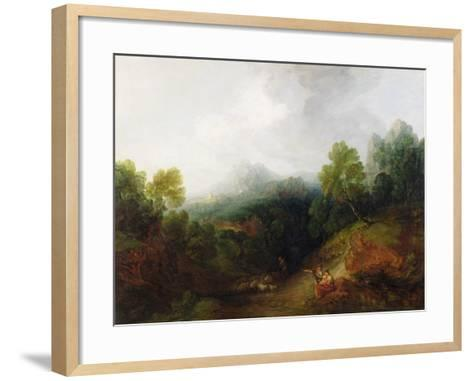 A Mountain Valley with Rustic Figures, C.1773-7-Thomas Gainsborough-Framed Art Print