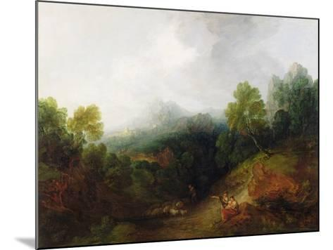 A Mountain Valley with Rustic Figures, C.1773-7-Thomas Gainsborough-Mounted Giclee Print