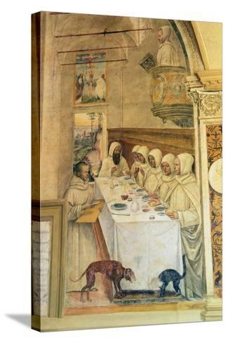St. Benedict Finds Flour and Feeds the Monks, from the Life of St. Benedict, 1497-98- L. Signorelli and G. Sodoma-Stretched Canvas Print