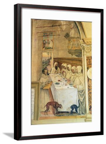 St. Benedict Finds Flour and Feeds the Monks, from the Life of St. Benedict, 1497-98- L. Signorelli and G. Sodoma-Framed Art Print