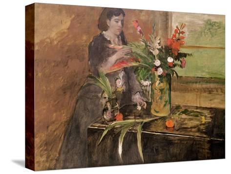 Young Woman Arranging Flowers, 1872-Edgar Degas-Stretched Canvas Print