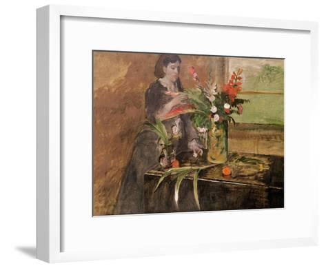Young Woman Arranging Flowers, 1872-Edgar Degas-Framed Art Print
