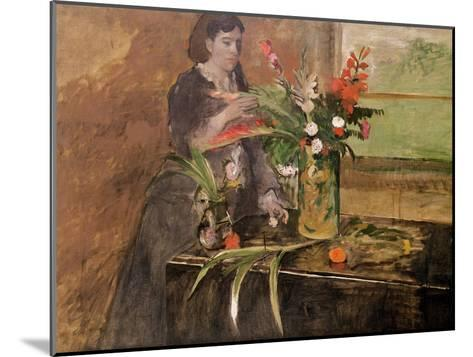 Young Woman Arranging Flowers, 1872-Edgar Degas-Mounted Giclee Print
